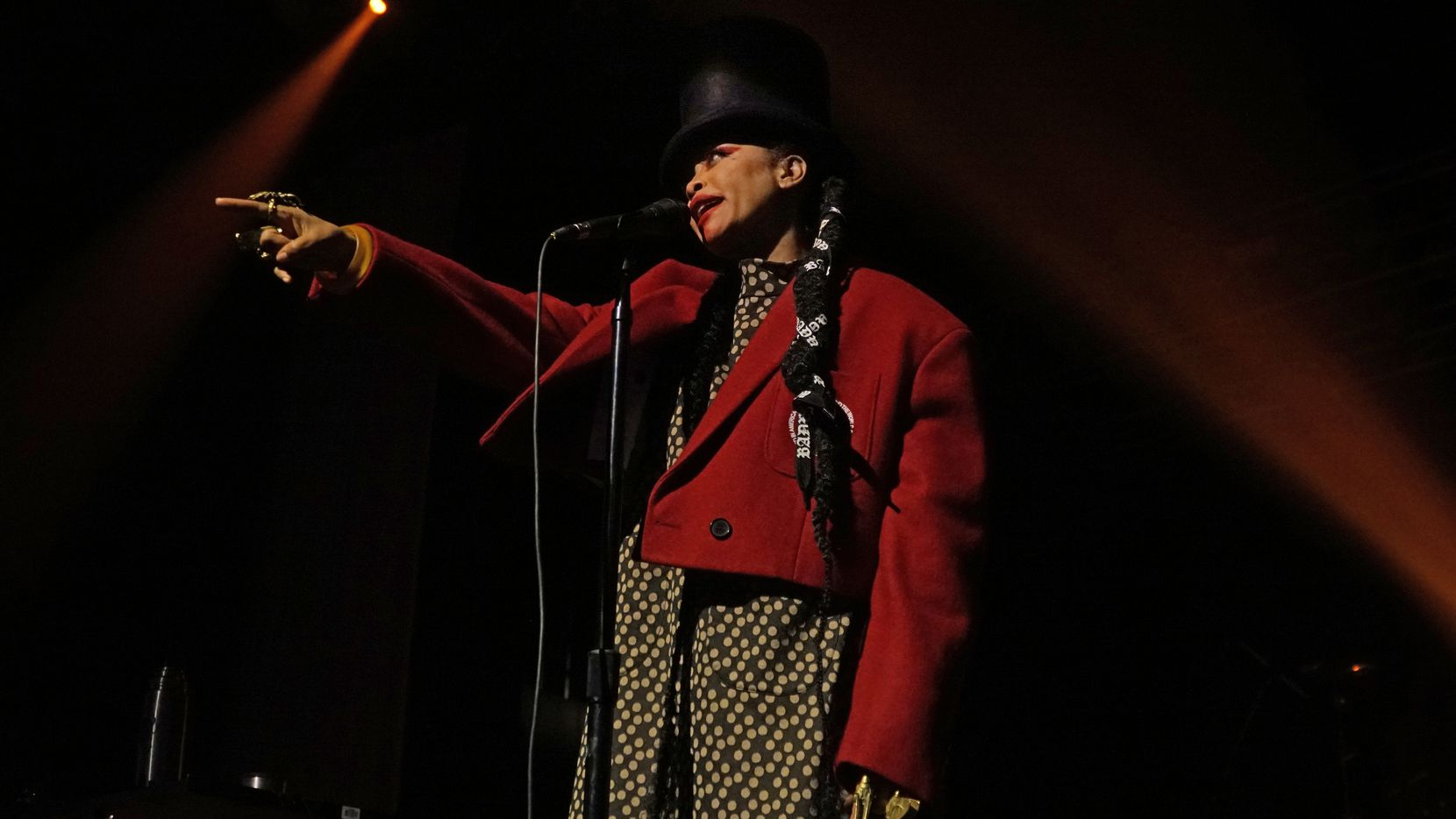 Erykah Badu performs at The Bomb Factory in Dallas, Texas on Saturday, Feb. 22, 2020.