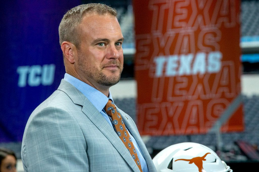 University of Texas head football coach Tom Herman speaks with Fox Sports during the Big 12 Conference Media Days event at the AT&T Stadium in Arlington, Texas, Tuesday, July 16, 2019.