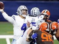 Dallas Cowboys quarterback Dak Prescott (4) throws a fourth quarter interception to Cleveland Browns cornerback Denzel Ward (not pictured) at AT&T Stadium in Arlington, Texas, Sunday, October 4, 2020. The Cowboys lost, 48-39.