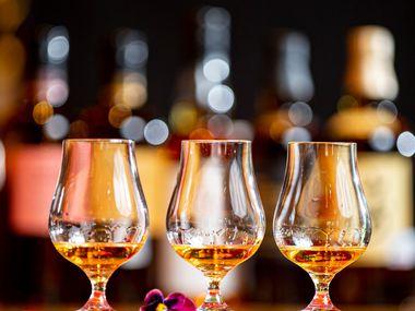 Three flights of Nikka Coffey Grain whisky at Nobu in the Crescent Hotel in Dallas, Sept. 10, 2019.