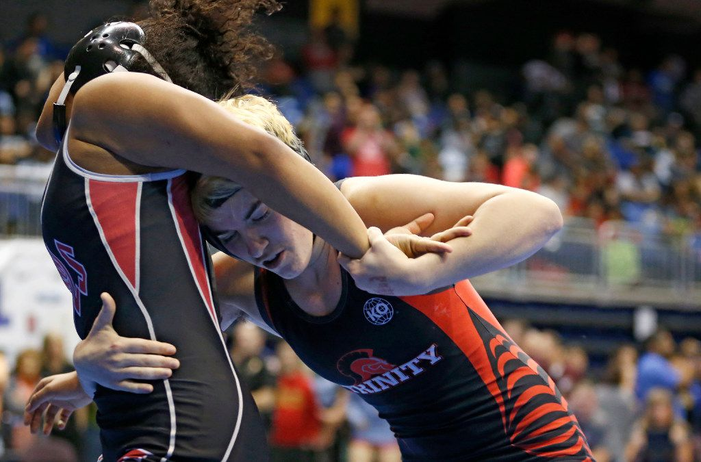 Euless Trinity's Mack Beggs wrestles Tascosa's Mya Engert in the 6A girls 110 weight class during the UIL Wrestling State Tournament at Berry Center in Cypress on Friday, February 24, 2017. Beggs defeated Engert 12-4 to advance to the semifinal. (Vernon Bryant/The Dallas Morning News)
