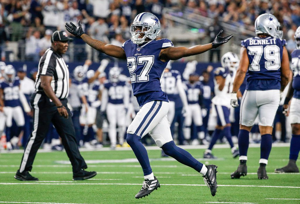 Dallas Cowboys cornerback Jourdan Lewis (27) celebrates a sack of Los Angeles Rams quarterback Jared Goff (16) during the second half of an NFL matchup between the Dallas Cowboys and the Los Angeles Rams on Sunday, Dec. 15, 2019 at AT&T Stadium in Arlington, Texas.
