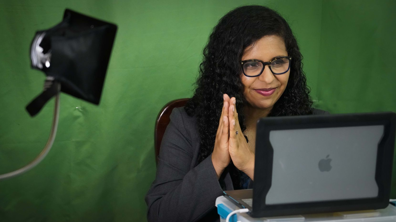 Candace Valenzuela, held a virtual fundraiser from her dining room table on Wednesday, June 24, 2020, in Dallas. Valenzuela beat Kim Olson in the Democratic primary runoff on July 14th. (Smiley N. Pool/The Dallas Morning News)