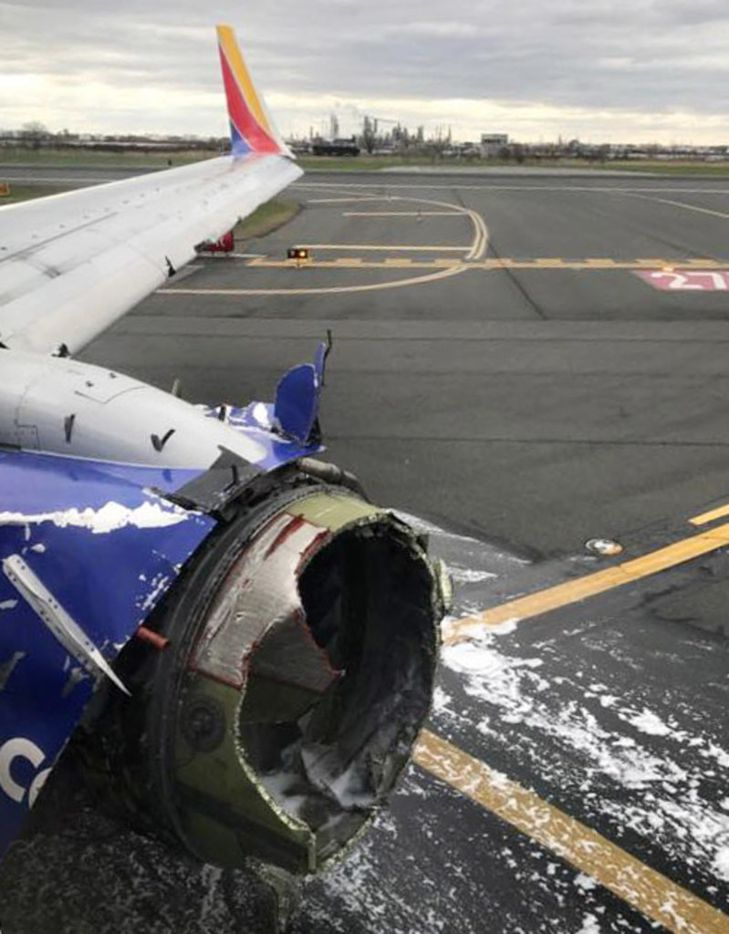 EDITORS NOTE - Marty approved use of the image.  Engine from Southwest Airlines plane 1380 at Philadelphia International Airport on Tuesday, April 17, 2018. The flight was bound for Dallas from New York but suffered engine failure and forced to make an emergency landing in Philadelphia. (Marty Martinez) ORG XMIT: U6bSYvOz-D6HjOkfjuKD