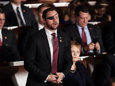 Rep. Dan Crenshaw, R-Houston, on the floor of the U.S. House of Representatives.