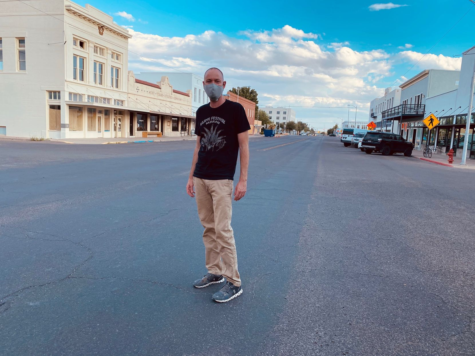 Tim Johnson, a longtime Marfa resident, on the town's Main Street. The town has been hit hard economically by the pandemic.