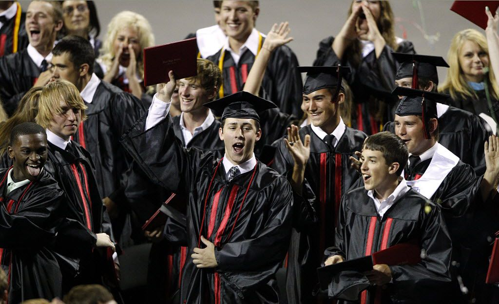 West High graduates celebrated after they were dismissed from their graduation ceremony at the Ferrell Center in Waco on June 7, 2013. The graduating class had to finish school in Waco after the Fertilizer plant explosion in April.