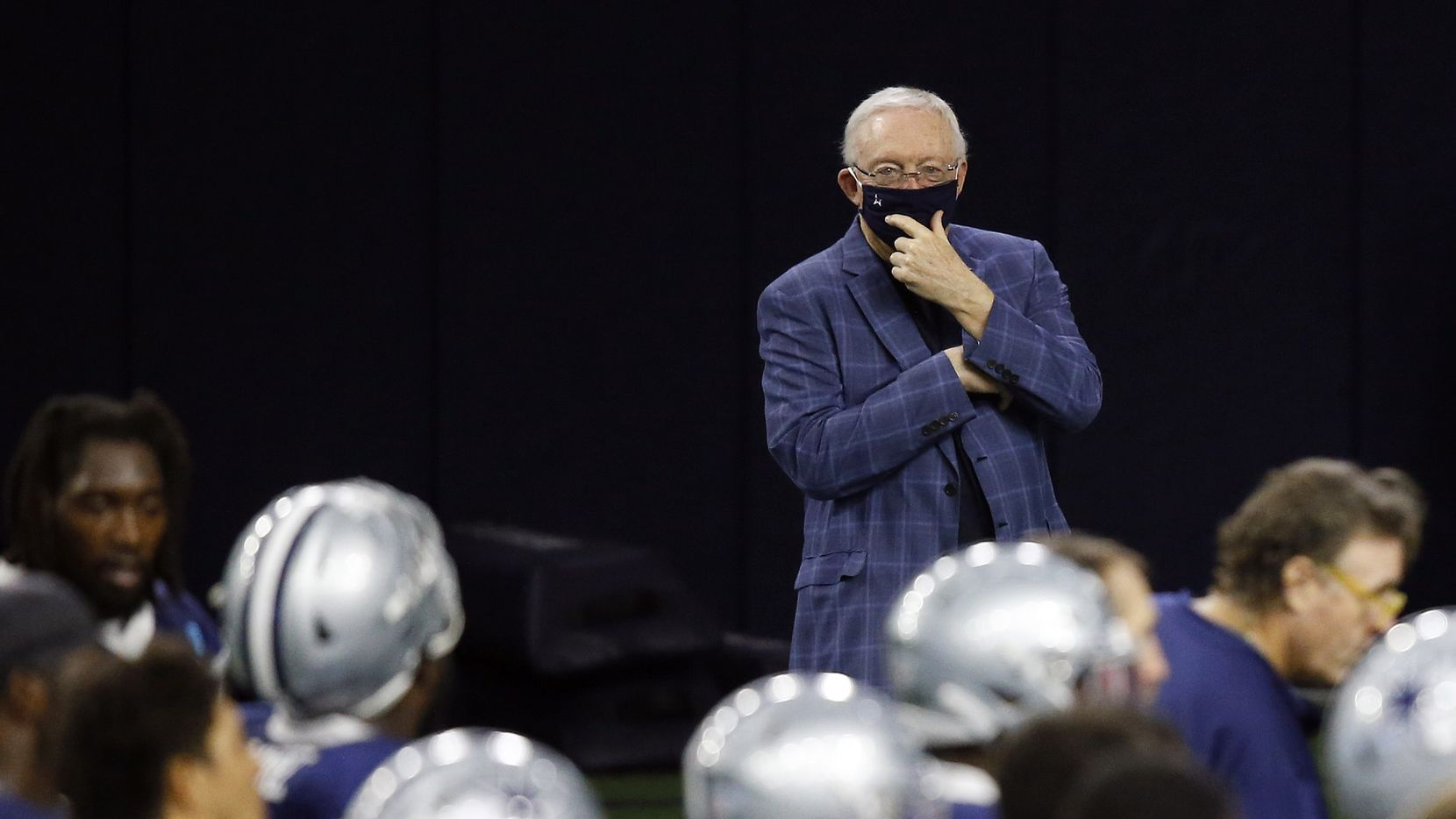 Dallas Cowboys owner and general manager Jerry Jones watches practice from the sidelines during training camp at the Dallas Cowboys headquarters at The Star in Frisco, Texas on Tuesday, August 25, 2020.