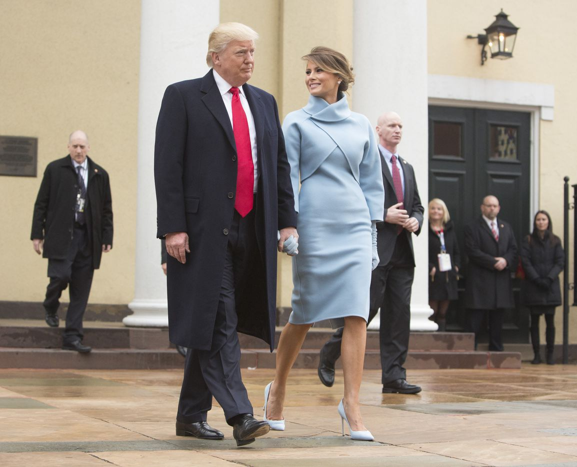 President-elect Donald J. Trump and first lady-elect Melania Trump depart St. John's Church on Inauguration Day on January 20, 2017 in Washington, DC. Donald J. Trump will become the 45th president of the United States today.  (Photo by Chris Kleponis - Pool/Getty Images)