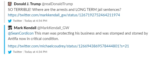 "Screen shot of Trump retweet of a claim by heavy metal guitarist Mark Kendall, blaming ""Antifa"" for the beating of a Dallas man with a machete during protests May 30, 2020. Kendall's tweet was removed within an hour."