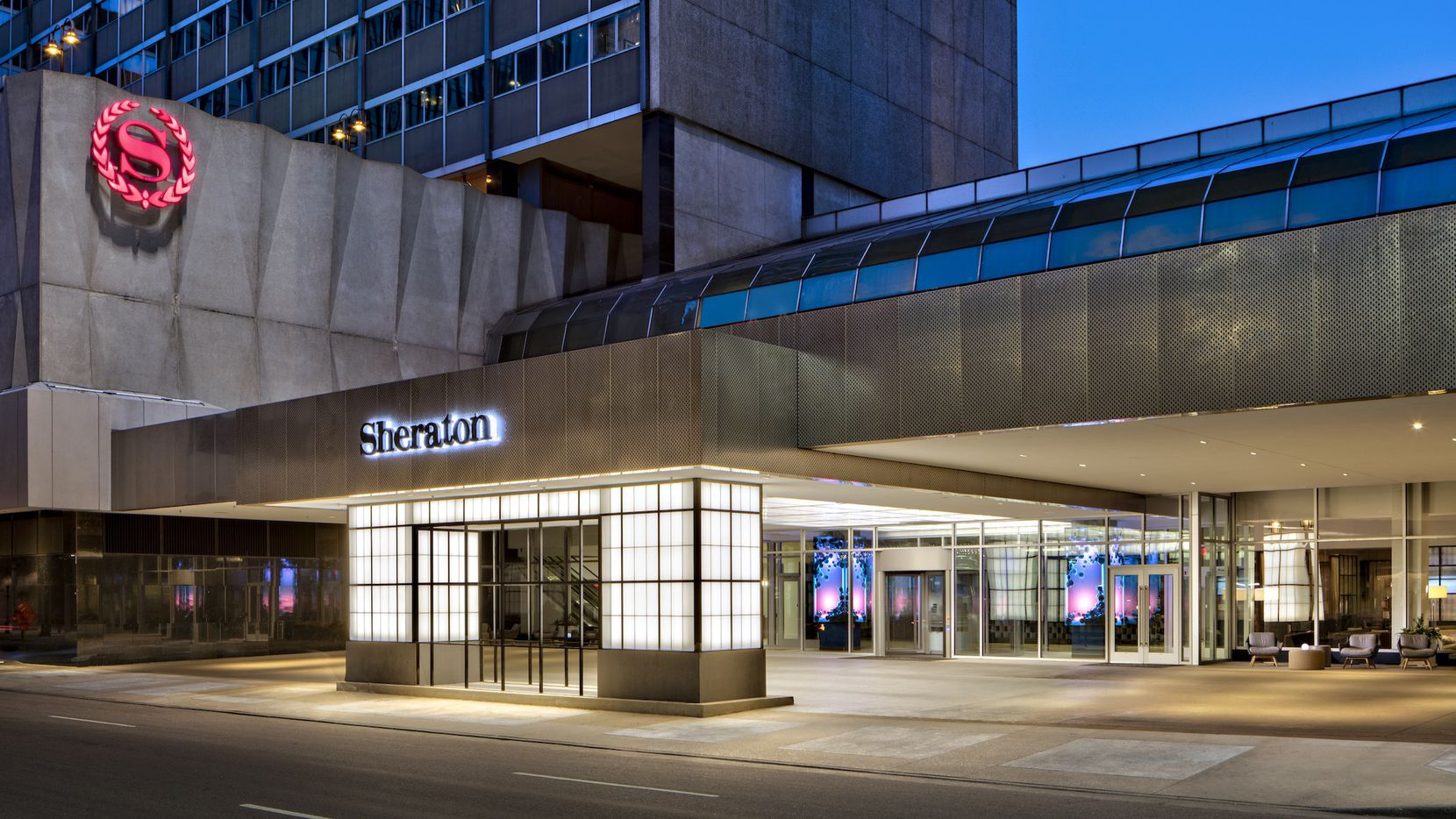 The Sheraton Dallas got a new entry as part of the redo.