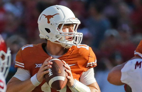 Texas Longhorns quarterback Sam Ehlinger (11) is pictured during the Oklahoma University Sooners vs. the University of Texas Longhorns NCAA college football game at the Cotton Bowl in Dallas on Saturday, October 14, 2017.