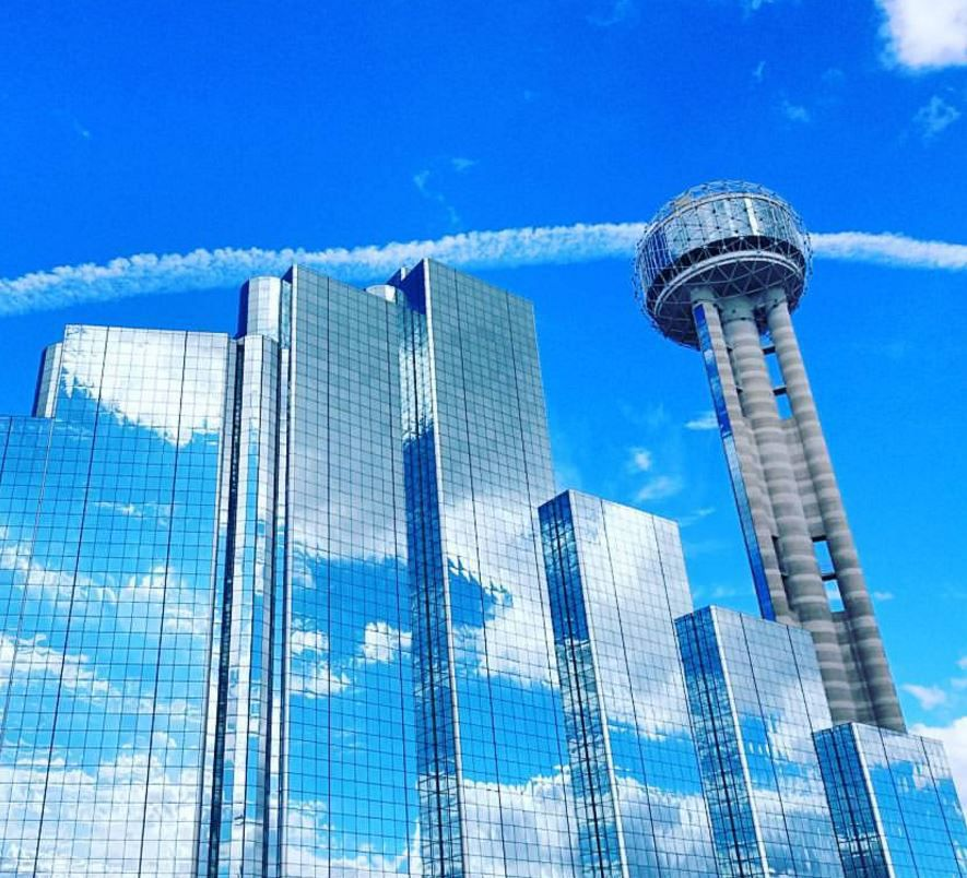 Reunion Tower in downtown Dallas.