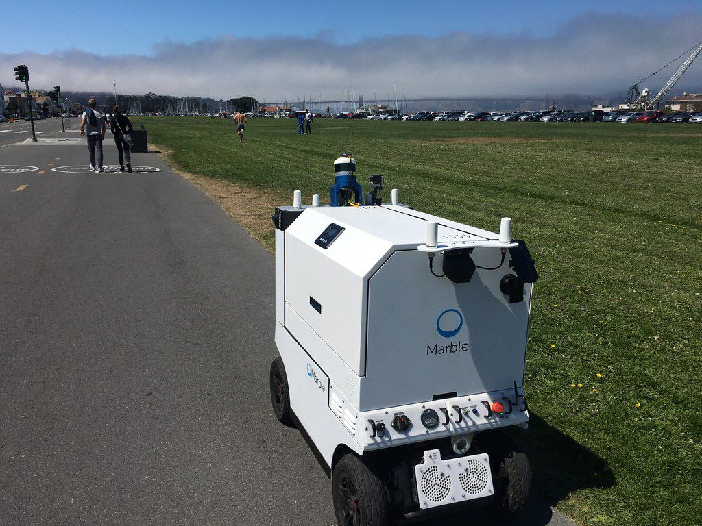 San Francisco-based robotics company Marble could be the first autonomous delivery device company to operate in Dallas. The city is considering a pilot. The robots are about the size of a motorized wheelchair and would travel at the maximum of 10 mph for 1 or 2 miles. They use sensors and cameras to detect and autonomously steer around obstacles like cyclists, dogs and fire hydrants. For the pilot, however, the number of devices would be limited and a human would walk behind them to monitor safety.