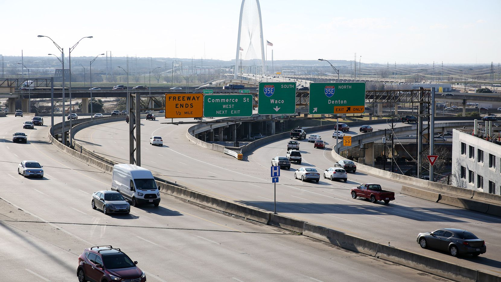 A crash in the southbound lanes of Interstate 35 at Regal Row has blocked the right two lanes, according to the Texas Department of Transporation.