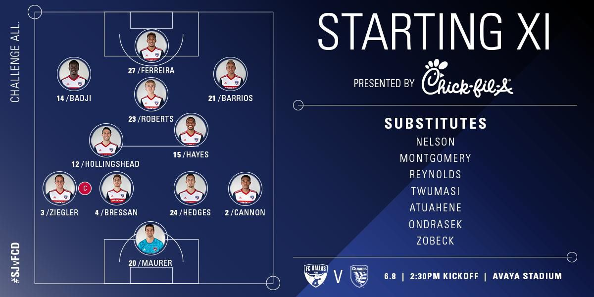 FC Dallas starting XI at San Jose Earthquakes. (6-8-19)