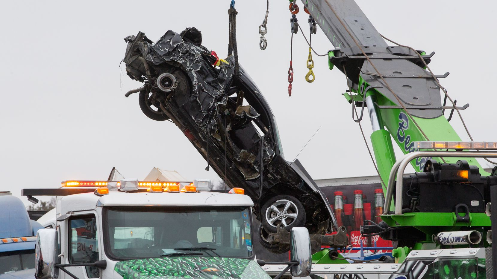 Crews work to clear the mass casualty pile-up on I-35W and Northside Drive in Fort Worth on Thursday, Feb. 11, 2021. (Juan Figueroa/ The Dallas Morning News)