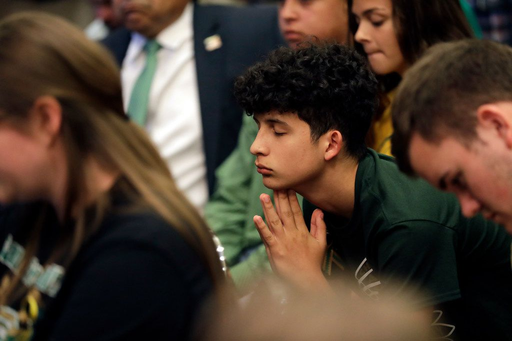Santa Fe students takes part in a roundtable discussion in Austin, Texas, Thursday, May 24, 2018, hosted by Texas Gov. Greg Abbott to address safety and security at Texas schools in the wake of the shooting at Santa Fe, Texas. Thursday's roundtable included victims, students, families and educators from the Santa Fe, Alpine and Sutherland Springs communities.