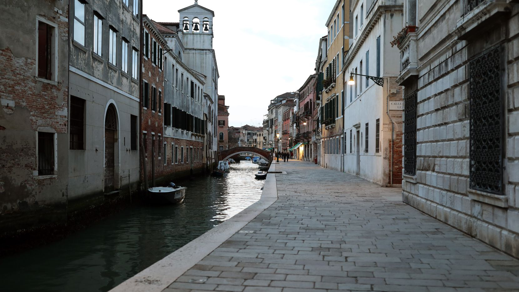 """A completely empty fondamenta della Misericordia is seen Monday in Venice, Italy. Prime Minister Giuseppe Conte announced a """"national emergency"""" due to the coronavirus outbreak."""