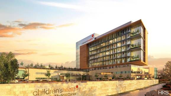 A rendering of the 300,000 square foot expansion planned for Children's Medical Center Plano. The new tower is expected to be completed by 2023. (HKS)
