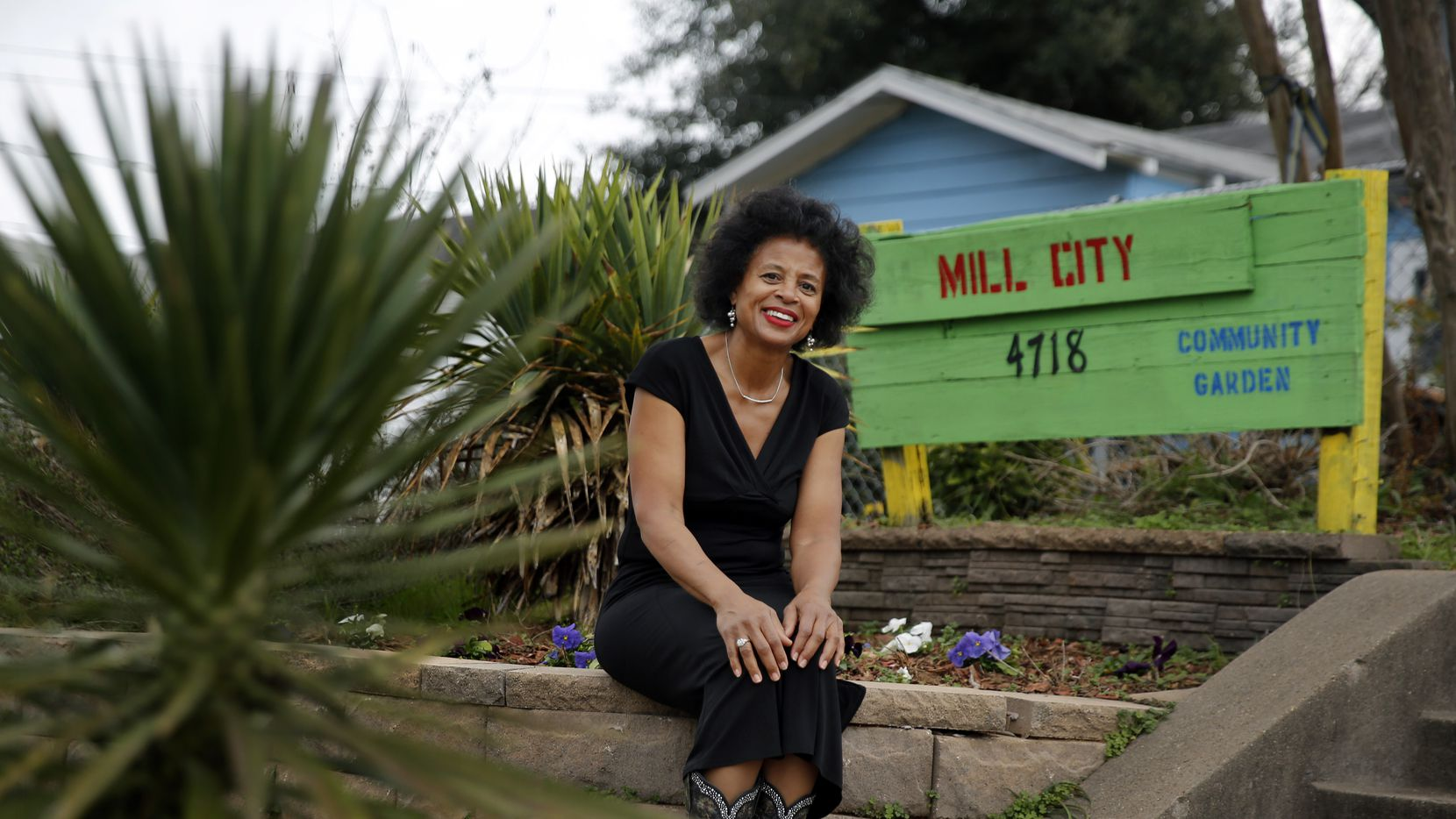 Since moving back to South Dallas, resident Alendra Lyons has been trying to make improvements and clean up the Mill City area, including the community garden next door to her home, Wednesday, January 15, 2020. (Tom Fox/The Dallas Morning News)