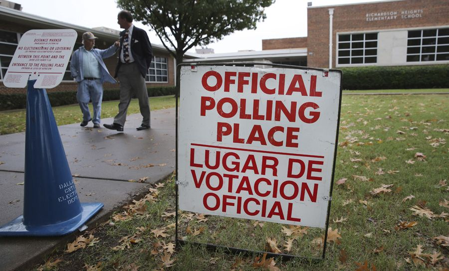 A sign marks a voting location at an elementary school during a 2013 election in Richardson. The next Election Day for the school board seats is May 2020.