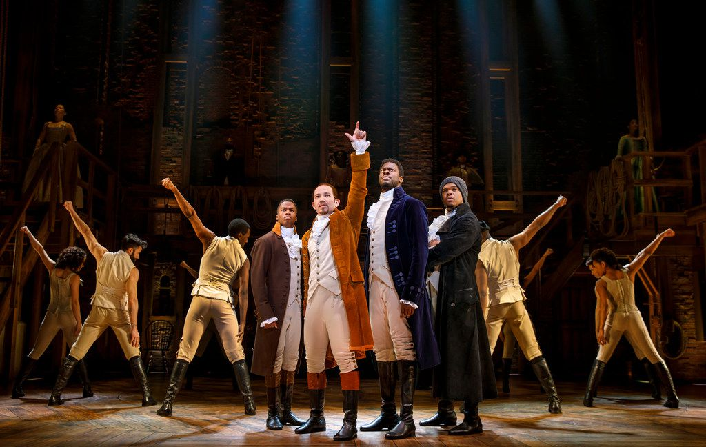 From left: Elijah Malcomb, Joseph Morales, Kyle Scatliffe, and Fergie L. Philippe star in the national tour of Hamilton. Morales and Walker will play Alexander Hamilton and Aaron Burr, respectively, when the show comes to Dallas next year.