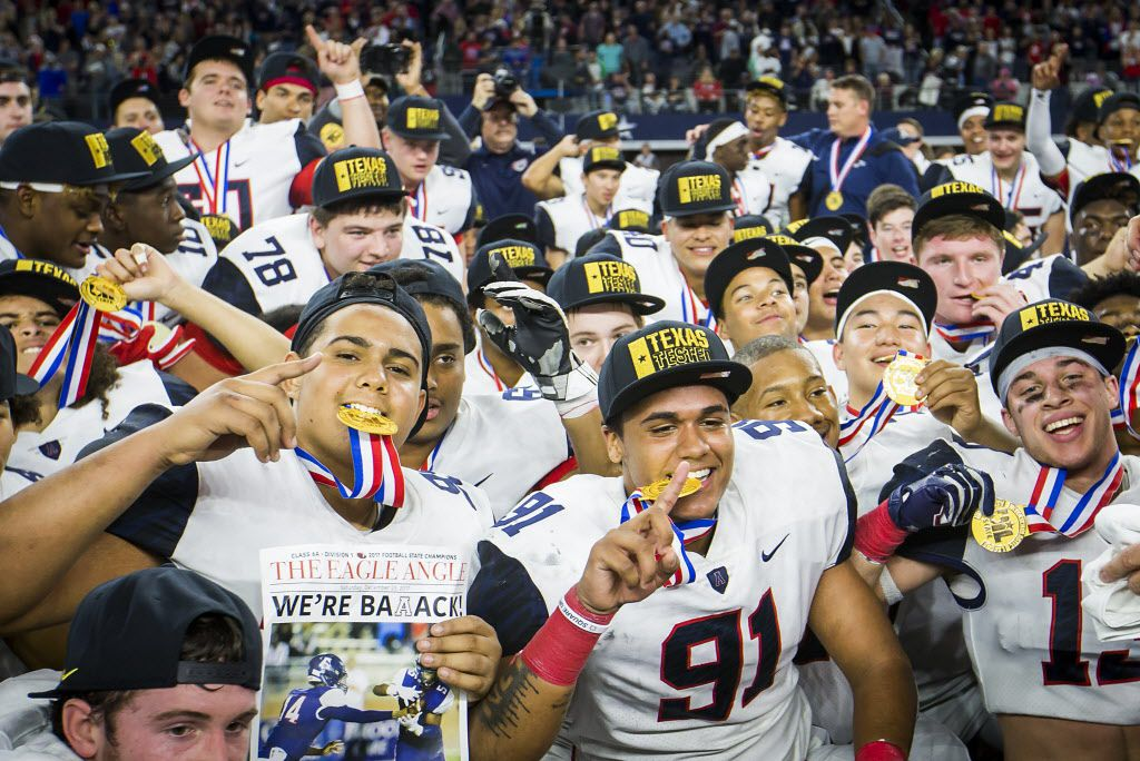 Allen players celebrate after the Eagles 35-33 victory over Lake Travis in the Class 6A Division I state championship game at AT&T Stadium on Saturday, Dec. 23, 2017, in Arlington, Texas. (Smiley N. Pool/The Dallas Morning News)