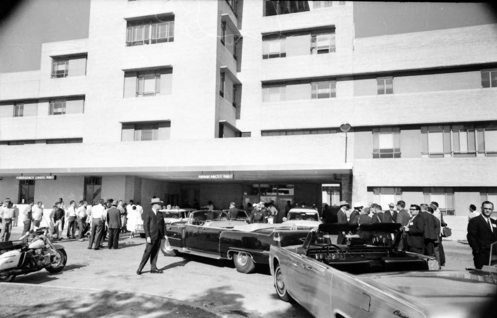 The scene outside Parkland Memorial Hospital after President John F. Kennedy was shot on Nov. 22, 1963. (Sixth Floor Museum)