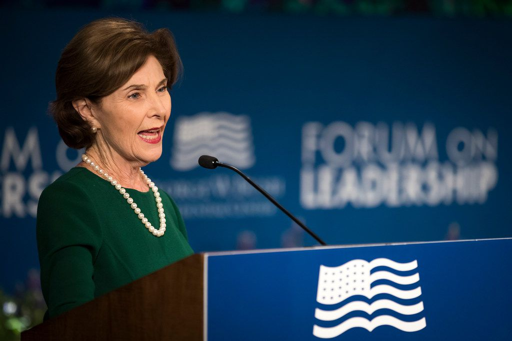 """Former first lady Laura Bush makes remarks before a session titled """"Going Native: Why Conservation Matters In Our Cities And In Our Own Backyards"""" during the Forum on Leadership at the George W. Bush Presidential Center on Wednesday, April 18, 2018, in Dallas. The event marks the fifth anniversary of the center's opening."""