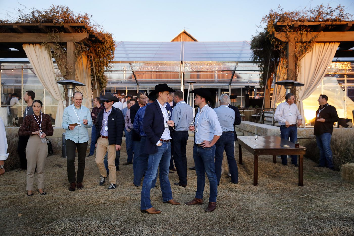 Business leaders, investors and aviation executives gathered for a military flyover during opening night of Texas UP. The private summit had Texas touches, including fittings of cowboy hats and photo ops with a longhorn. (Tom Fox/The Dallas Morning News)