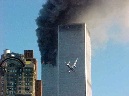 A jet airliner is lined up on one of the World Trade Center towers in New York on Tuesday, Sept. 11, 2001.