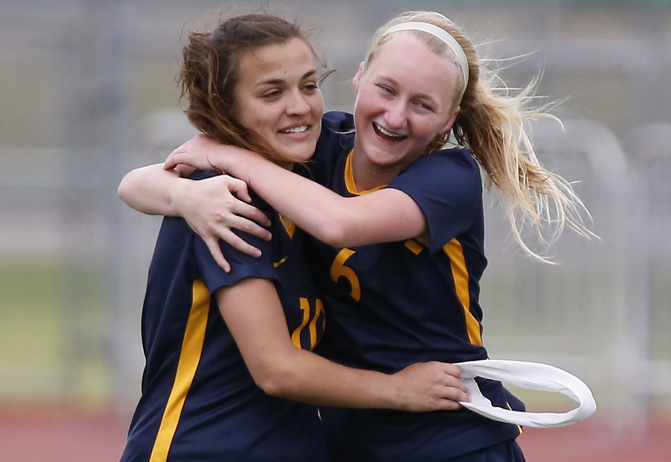 Highland Park team captain Presley Echols (10) is embraced by Keller Matise (6) after Echols scored the go ahead goal in the second half during the Class 5A Region II Championship girls soccer game played at Standridge Stadium in Carrollton on Saturday, April 13, 2019.