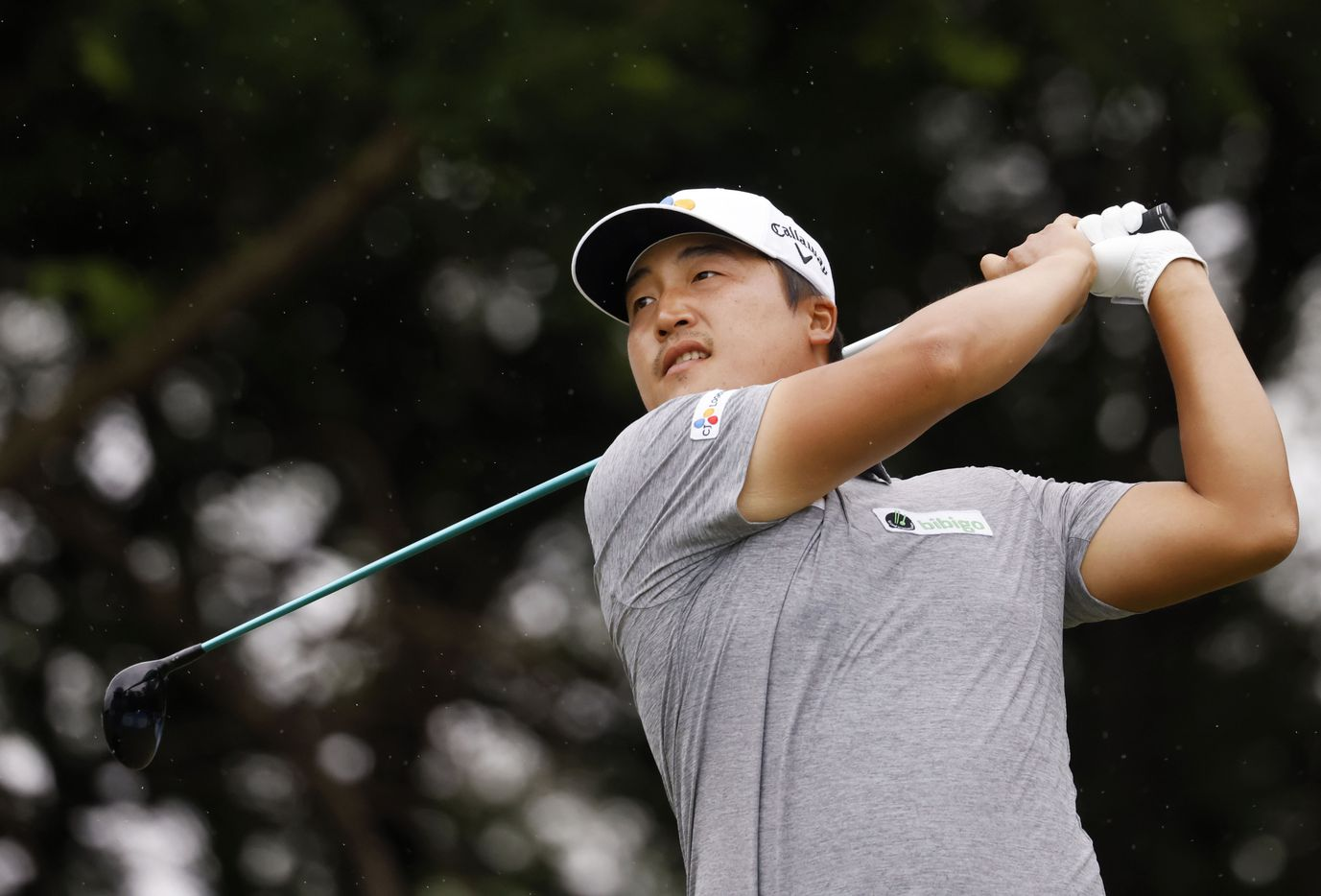 Kyoung-Hoon Lee watches his ball after teeing off on the 5th hole during round 4 of the AT&T Byron Nelson  at TPC Craig Ranch on Saturday, May 16, 2021 in McKinney, Texas. (Vernon Bryant/The Dallas Morning News)