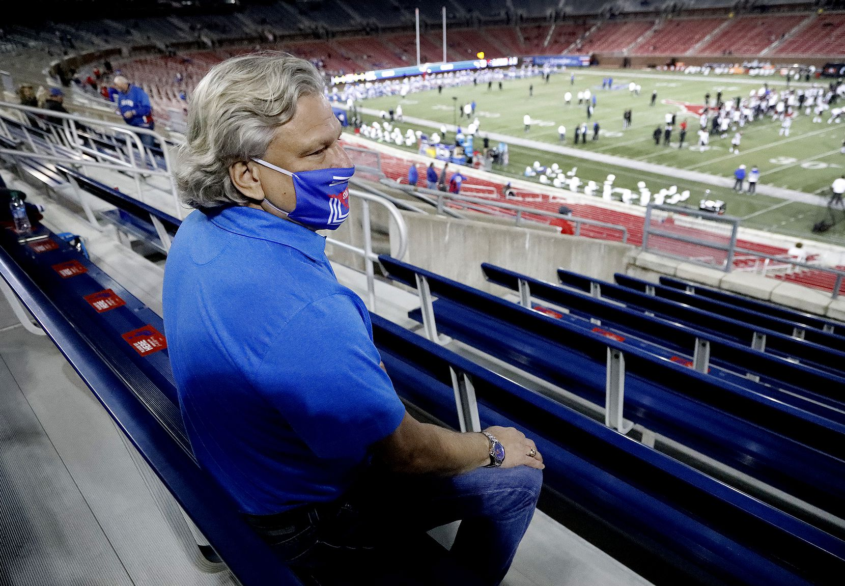 SMU super fan Paul Layne watches warm ups  as SMU hosted Cincinnati University in an AAC football game at Ford Stadium in Dallas on Saturday night, October 24, 2020. (Stewart F. House/Special Contributor)