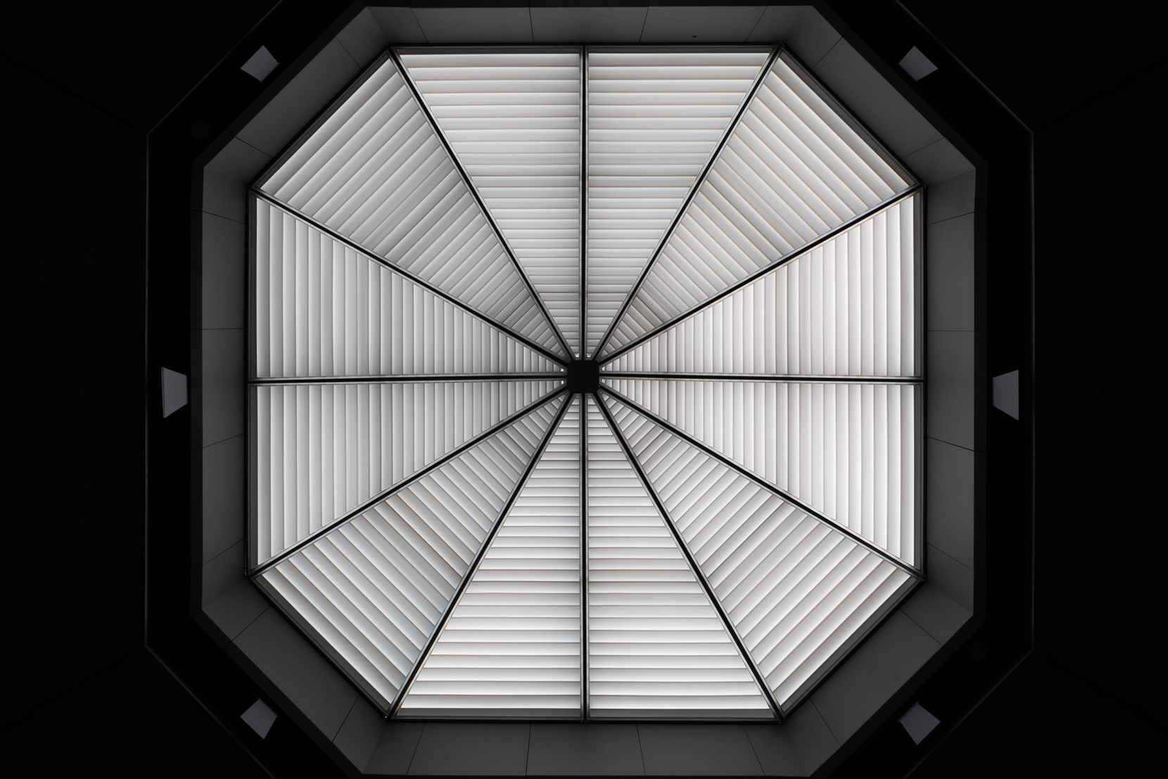 """The skylight of the chapel's hexagonal sanctuary was completely remade as part of the renovation. Now, writes Lamster, """"As the quality of light outside changes — a cloud floats overhead, the sun declines — so do Rothko's paintings, their rich blues and purples breathing like living beings."""""""