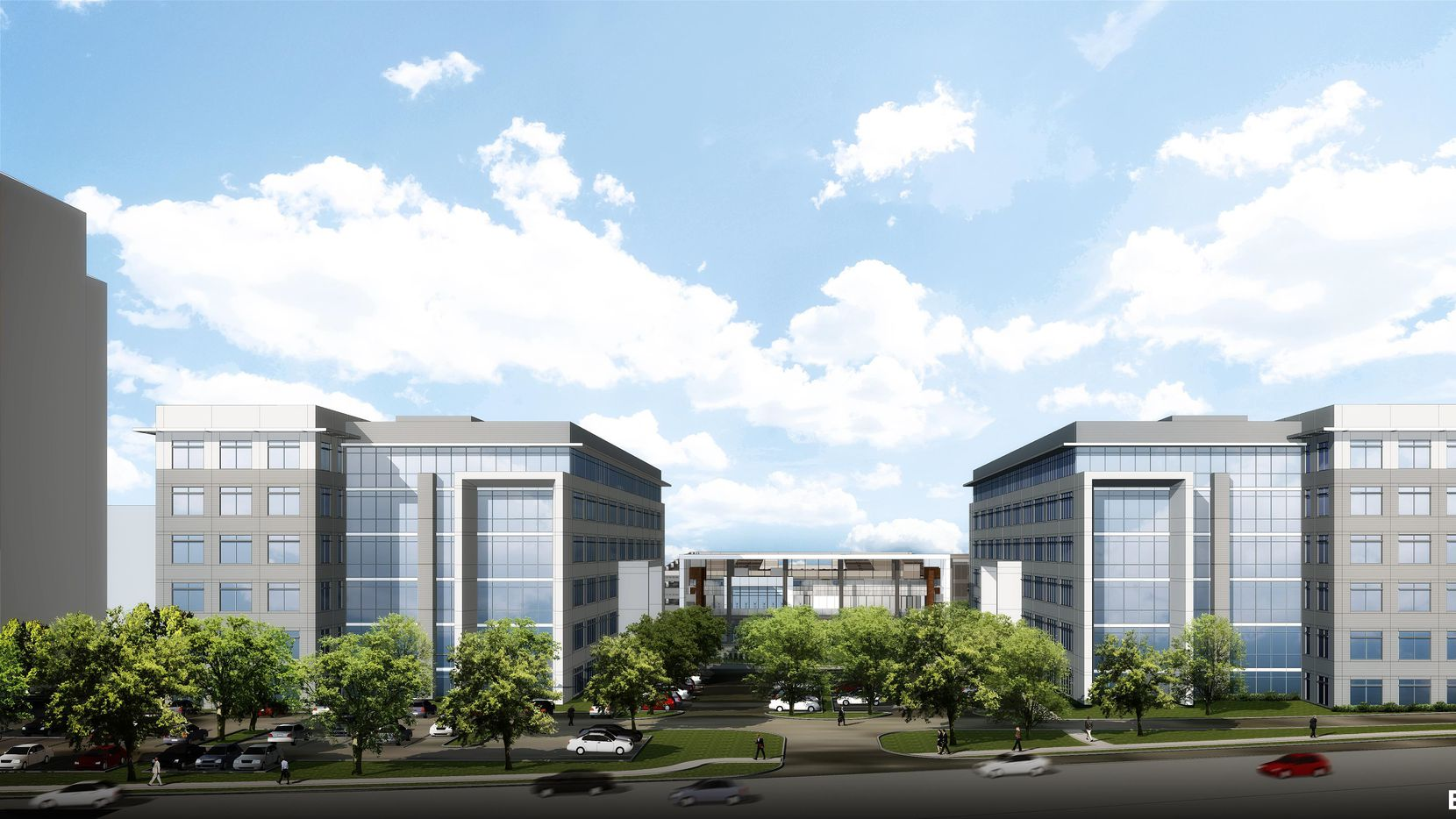 The first 6-story building is already half leased.