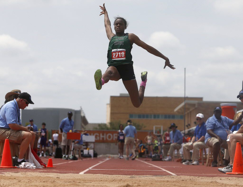 Mansfield Lake Ridge's Jasmine Moore competes in the class 5A girls long jump during the UIL Track and Field State Championships in Austin, Friday, May 13, 2016. (Stephen Spillman/Special Contributor)