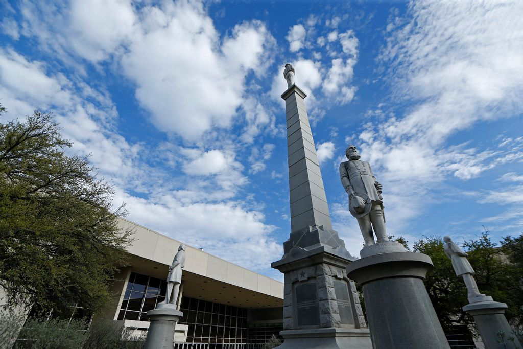 The Confederate War Memorial at Pioneer Park Cemetery in Dallas on March 21, 2018. (Nathan Hunsinger/The Dallas Morning News)