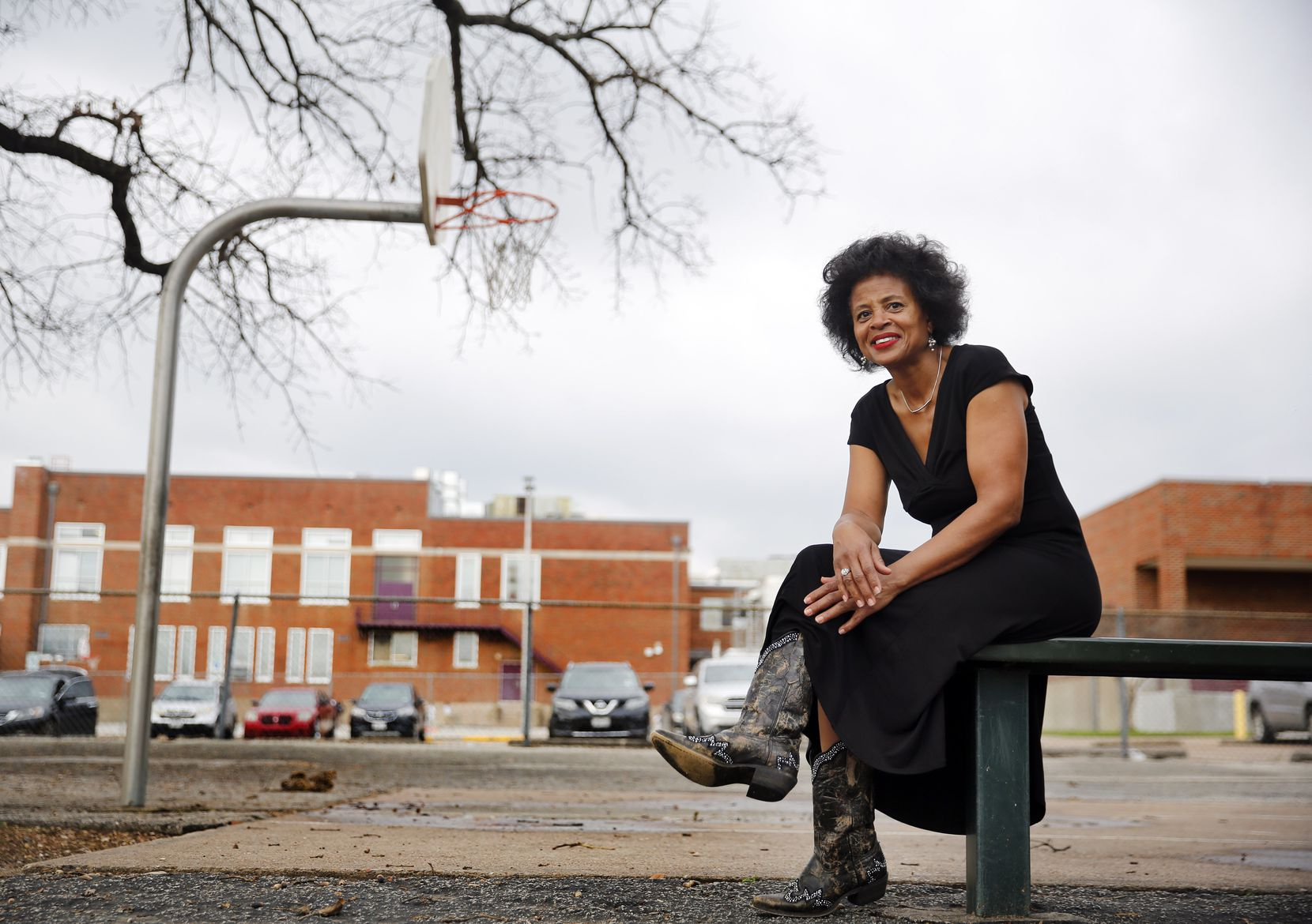 Alendra Lyons got the city to make improvements in T.G. Terry Park, including new, curved basketball hoops behind Paul L. Dunbar Learning Center in South Dallas.