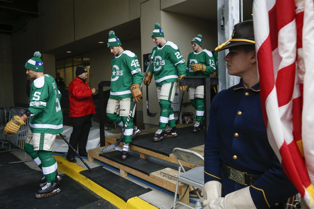 The Dallas Stars exit the locker room for warm ups prior to a NHL Winter Classic matchup between the Dallas Stars and the Nashville Predators on Wednesday, January 1, 2020 at Cotton Bowl Stadium in Dallas. (Ryan Michalesko/The Dallas Morning News)