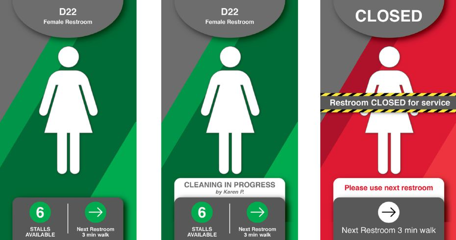 A sign at DFW International Airport indicates which bathrooms are being cleaned.