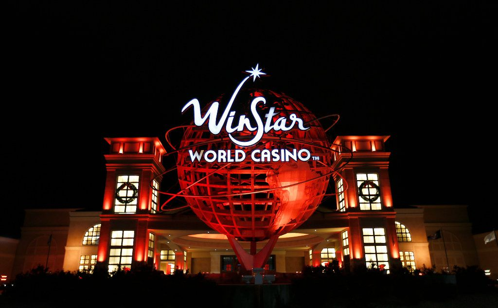 A WinStar World Casino and Resort symbol stands at the Grand Entrance on Saturday, Nov. 28, 2015, in Thackerville, Okla. (Jae S. Lee/The Dallas Morning News)