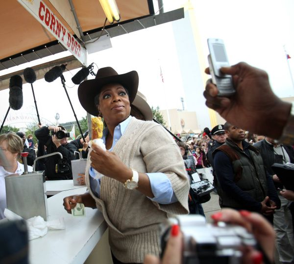 Not even Oprah Winfrey could visit the State Fair of Texas without eating a corny dog. On her 2009 visit, she also sampled Deep Fried Butter and Deep Fried Peaches & Cream.