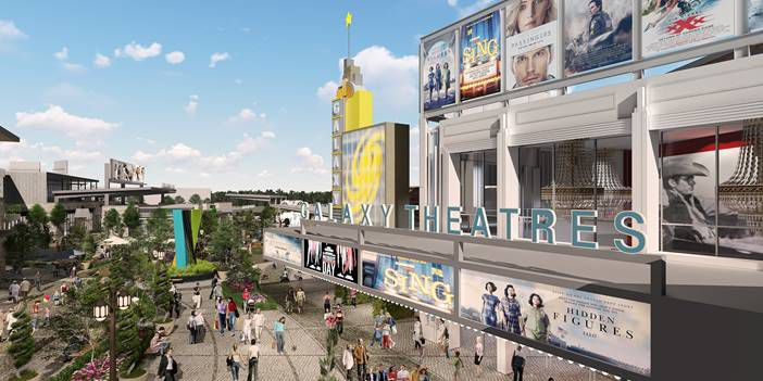 An artist's rendering of the Galaxy Theatres location coming to Grandscape in The Colony.