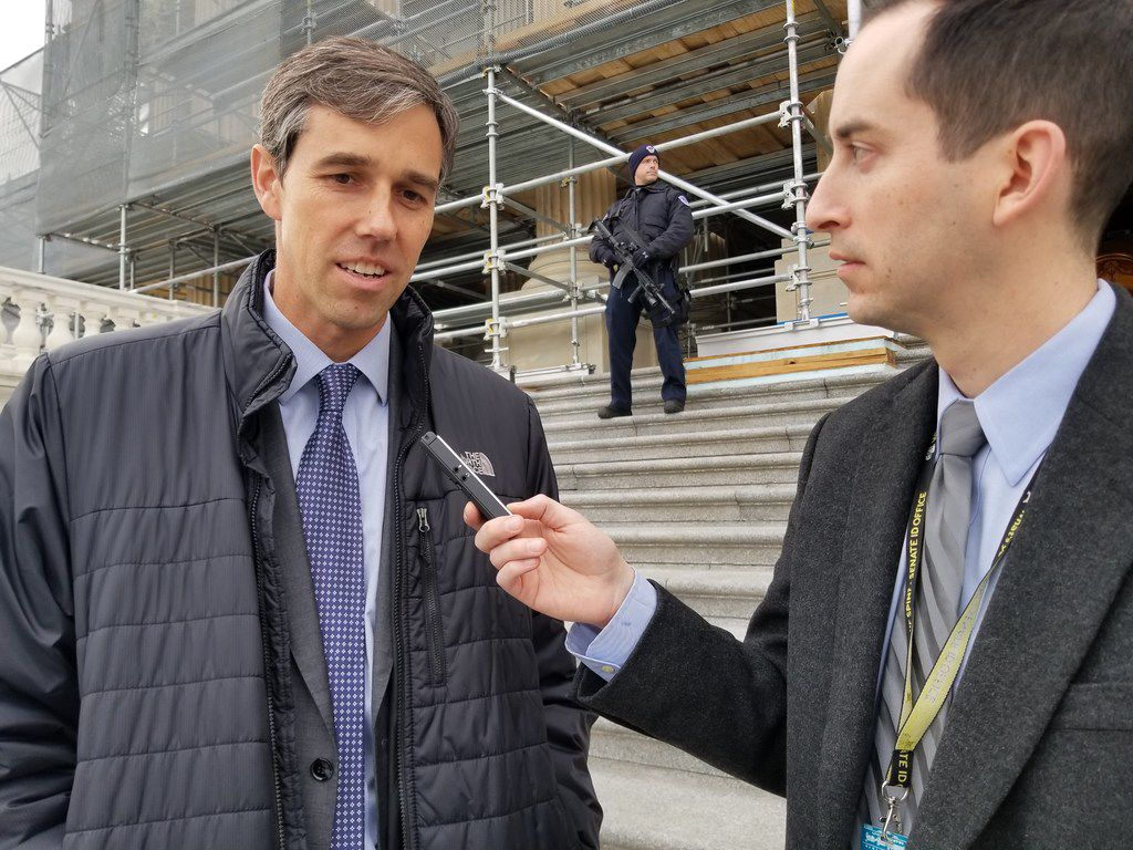 Rep. Beto O'Rourke, D-El Paso, speaks with Tom Benning, Washington correspondent for The Dallas Morning News, on the steps of the U.S. Capitol on Dec. 12, 2018.