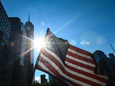 An American flag flutters in the wind near the National 9/11 Memorial & Museum in New York City on Sept. 10, one day before the United States commemorates the 20th anniversary of the 9/11 terrorist attacks.