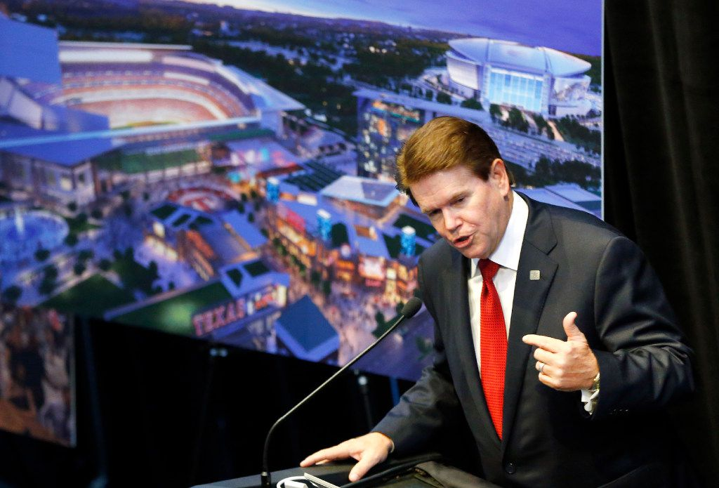 Arlington Mayor Jeff Williams welcomes guests to a news conference revealing new details about the planned Texas Live! entertainment complex next to Globe Life Park in Arlington. The development is expected to open by the start of the 2018 season.