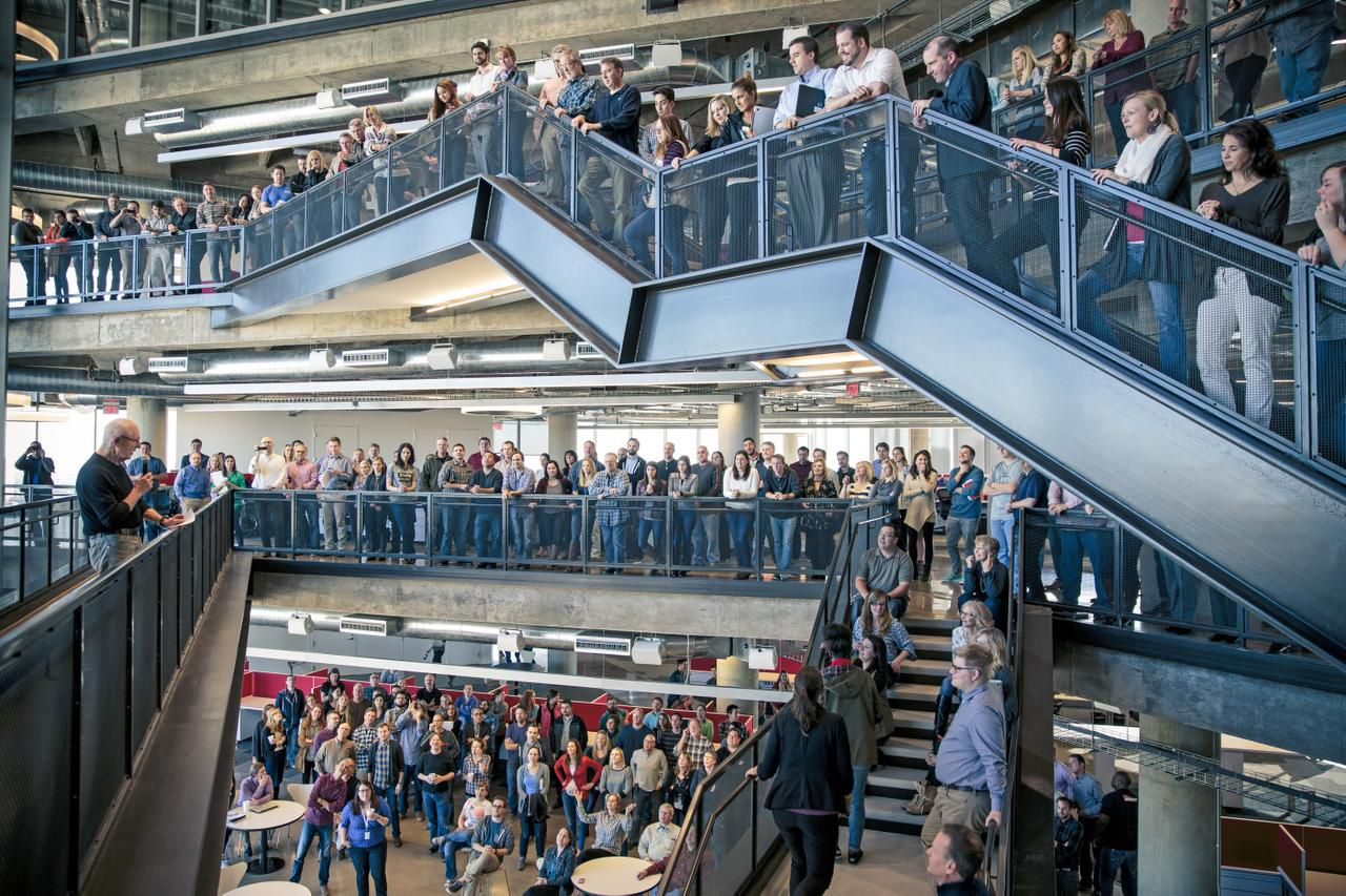 Richards Group employees gathered at the three-story atrium staircase in the ad agency's headquarters in 2015.