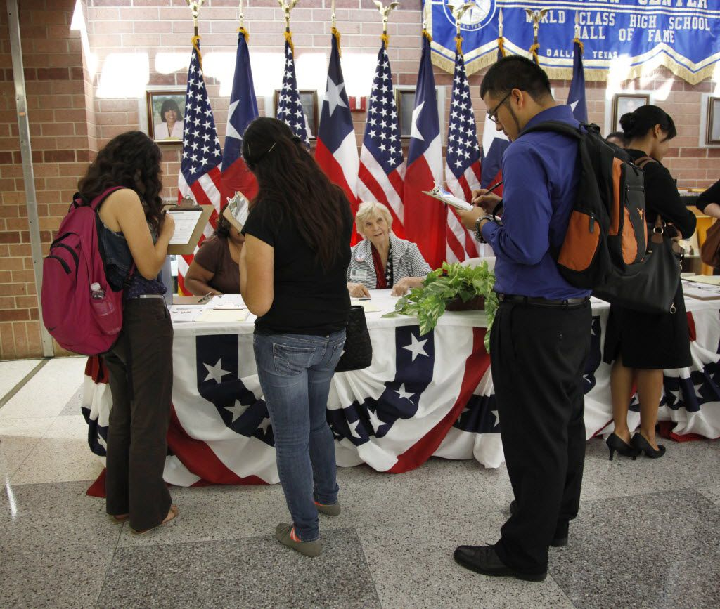 Students register to vote during National Voter Registration Day in 2012.